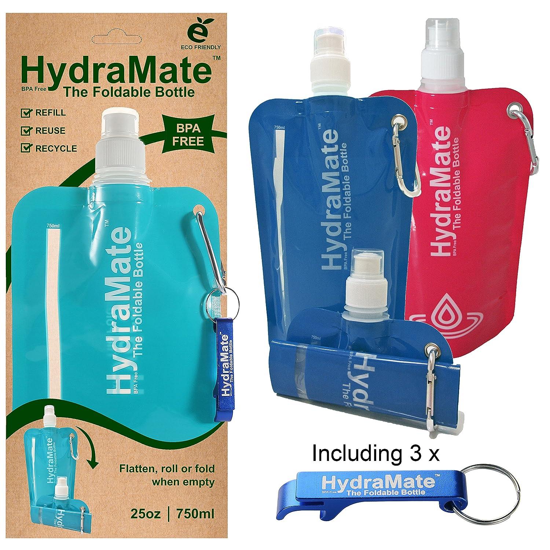 折りたたみ式水bottle-bpaフリー。Collapsible 26oz / 750ml。hydramate軽量、ソフト、Squeezable、環境に優しい折りたたみボトル。スポーツキャップ衛生的安全蓋付き。Refillable。カラビナクリップ。フリーキーリング! B074N23LJ8 Pack of 3 ミックス ミックス Pack of 3