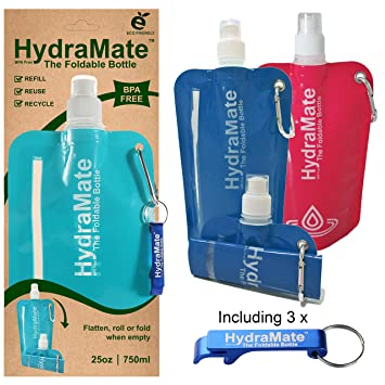 Foldable Water Bottle >> Hydramate Foldable Water Bottle Bpa Free Collapsible 26oz 750ml