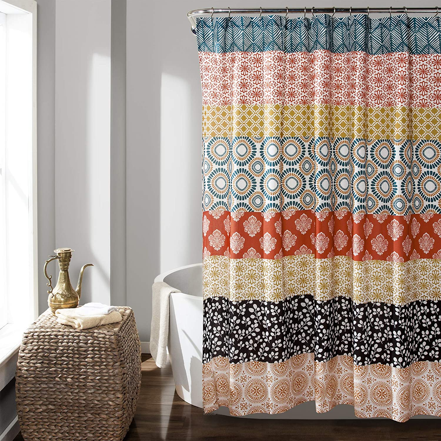 "Lush Decor 16T000209 Bohemian Striped Shower Curtain Colorful Bold Design, 72"" x 72"", Turquoise and Orange: Home & Kitchen"