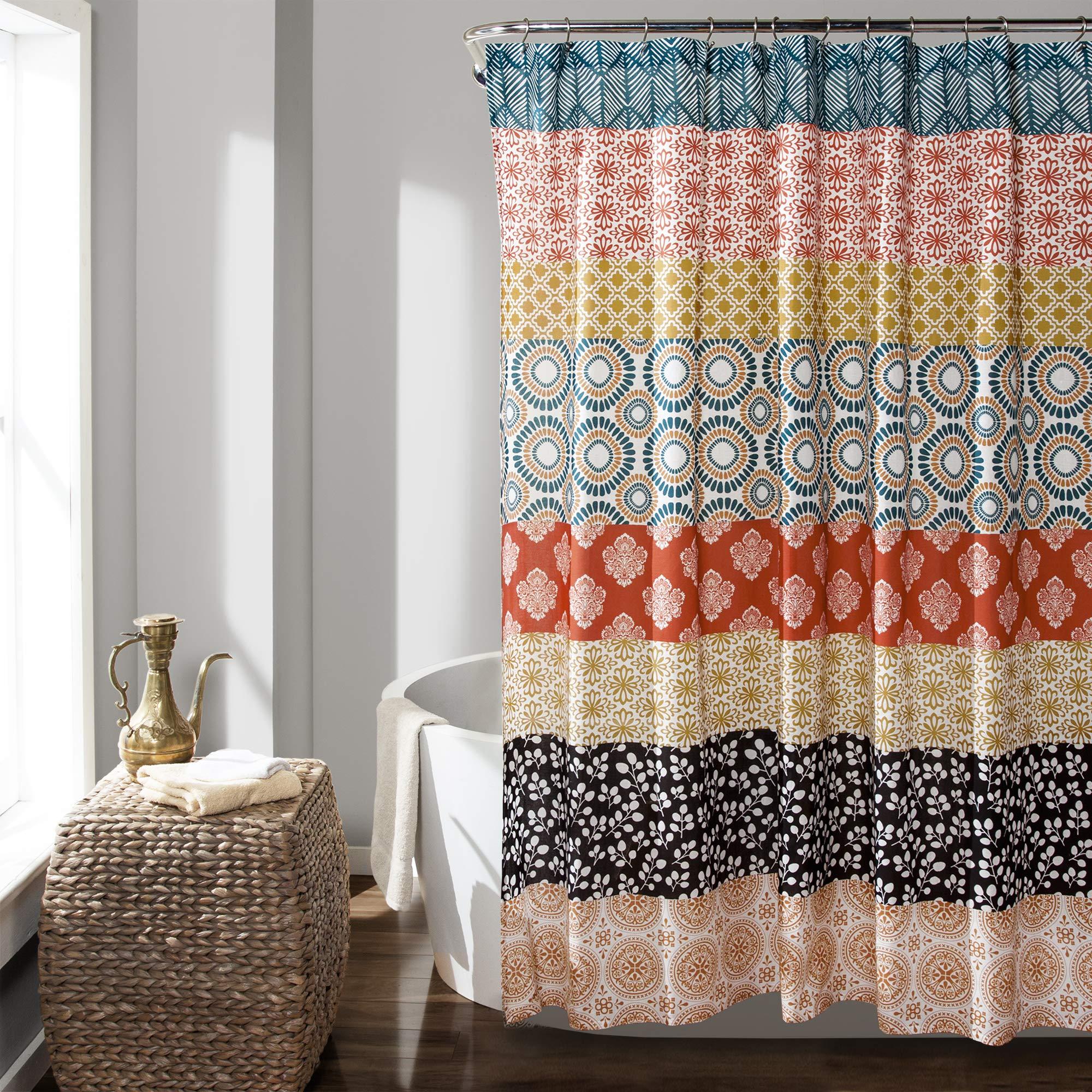 Lush Decor Bohemian Striped Shower Curtain Colorful Bold Design, 72'' x 72'', Turquoise and Orange by Lush Decor