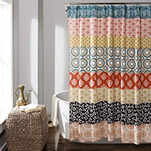 "Lush Decor Bohemian Striped Shower Curtain Colorful Bold Design, 72"" x 72"" Turquoise and Orange"