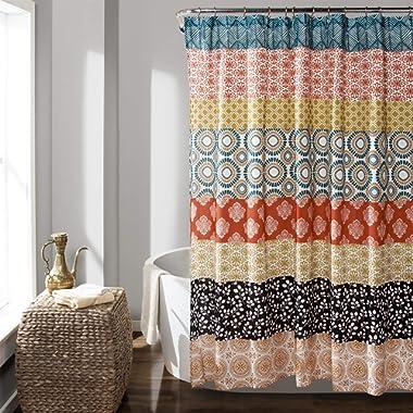 Lush Decor Bohemian Striped Shower Curtain Colorful Bold Design, 72  x 72 , Turquoise and Orange