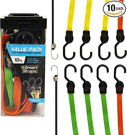 Flat Bungee Cord Straps –Elastic Luggage Secure Hold Rope– Car//Bike Tie Stretch