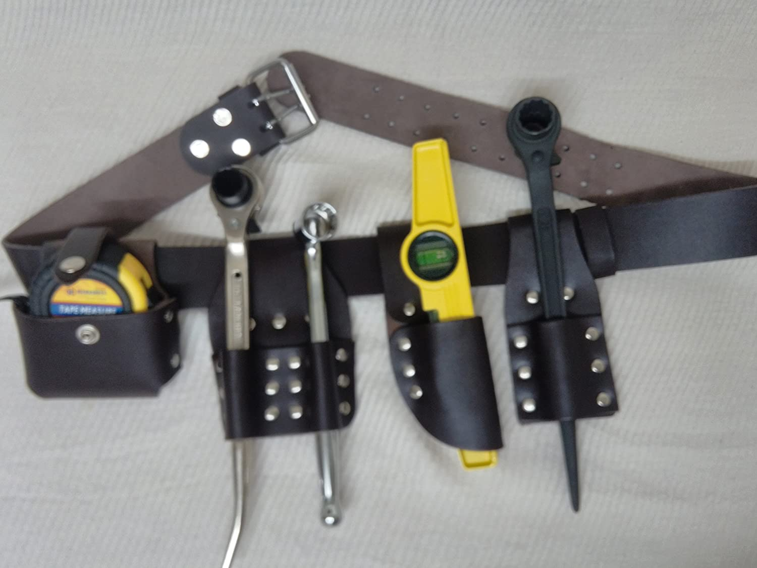 New Edition Scaffolding Leather Tool Belt 5 IN 1 Edition - 4 PCS TOOLS INCLUDED EVERGREEN