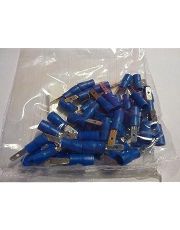 0,06 EUR//Stück 100 teilisolierte Flachstecker 4,7x0,5 rot 0,5 bis 1,5 mm²