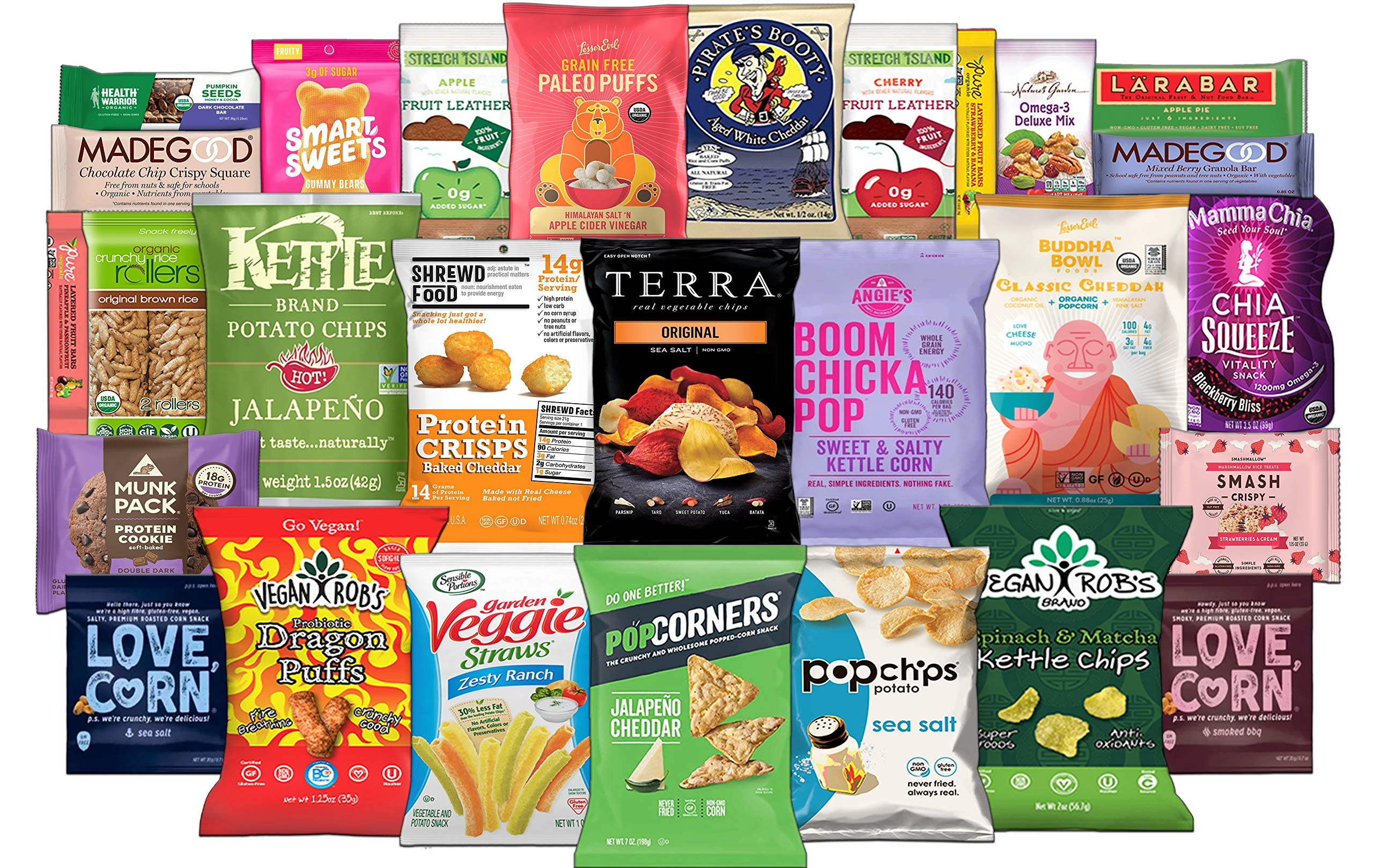 Premium Gluten Free Snacks Assortment Care Package - Variety of Chips, Puffs, Popcorn, Bars, Nuts, Fruit Snacks (28 Count) by Custom Treats