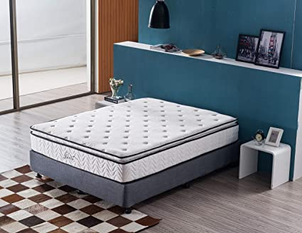 4ce1241d4f King Mattress, Jacia House 11.4 Inch Pillow Top Gel Memory Foam  Individually Pocket Spring Hybrid