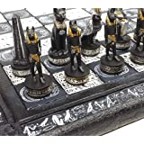 "HPL Egyptian Anubis Chess Set Black Silver and Gold Men with 16"" Hieroglyphic Board"