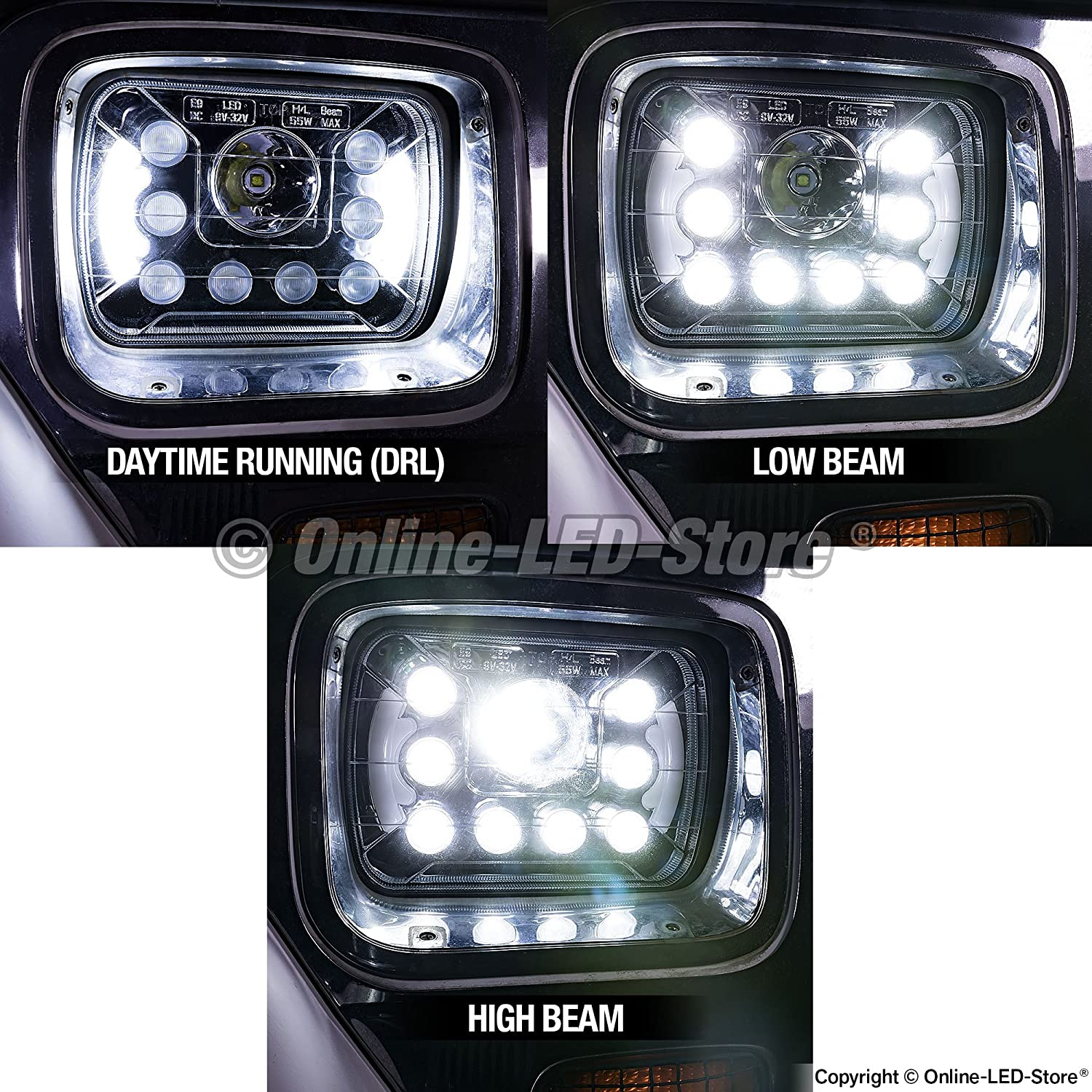 Online Led Store Universal 5x7 7x6 Inch 45w 1926 1927 Model T Ford Wiring Diagram Headlight With Drl Pair Plug Play Energy Efficient Bold Styling Low High Beam Sealed