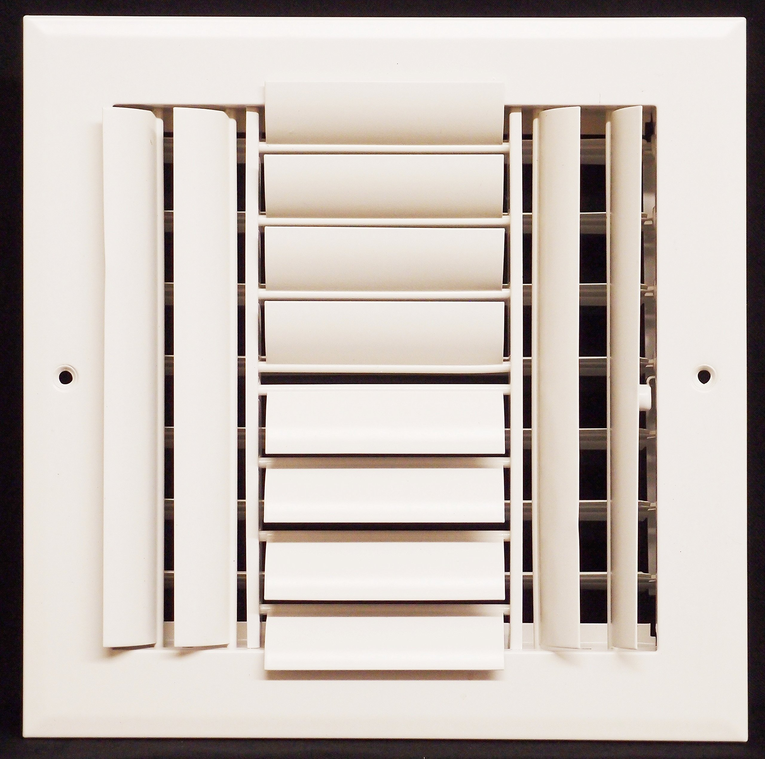 10'' x 10'' - 4-Way Air Vent - Adjustable Aluminum Curved Blades - Maximum Air Flow - HVAC Grille