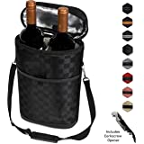 Premium Insulated 2 Bottle Wine Carrier Tote Bag | Wine Travel Bag with Shoulder Strap, Padded Protection, and Corkscrew Opener | Wine Cooler Bag
