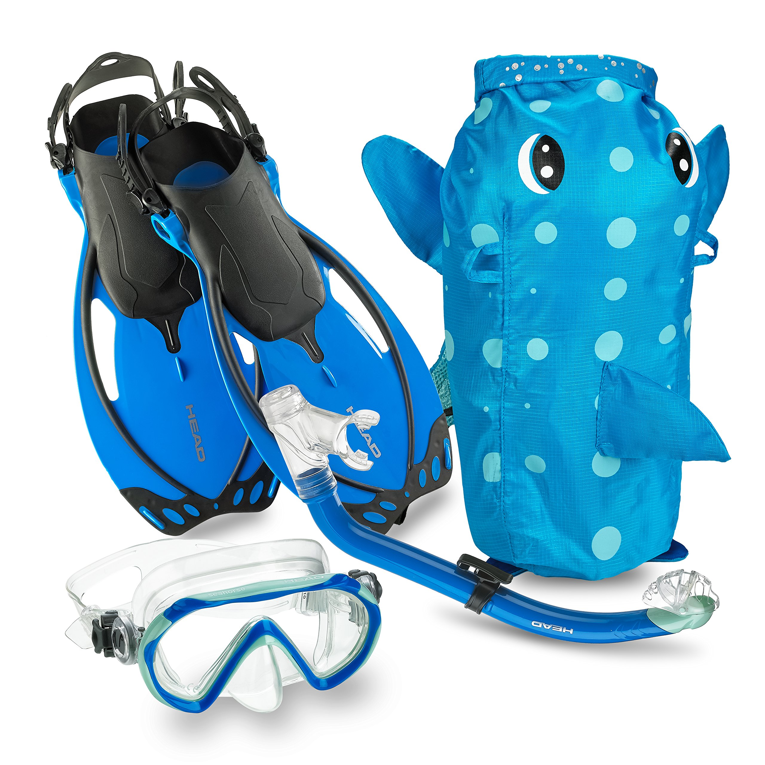 Mares Italian Collection Premium Youth Sea Pals Character Kids Mask Fin Snorkel Set Snorkeling Gear - Ultra-Clear Tempered Glass Lens Snorkeling Set (Blue, Large/1-4) by Mares