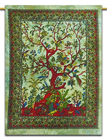 Small Tapestry Wall Hanging Tree Of Life Cotton Poster Throw Textile Indian Art