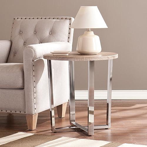 Ettings Round Side Table – Sun Bleached Gray Finish w Chrome Base – Sleek Design