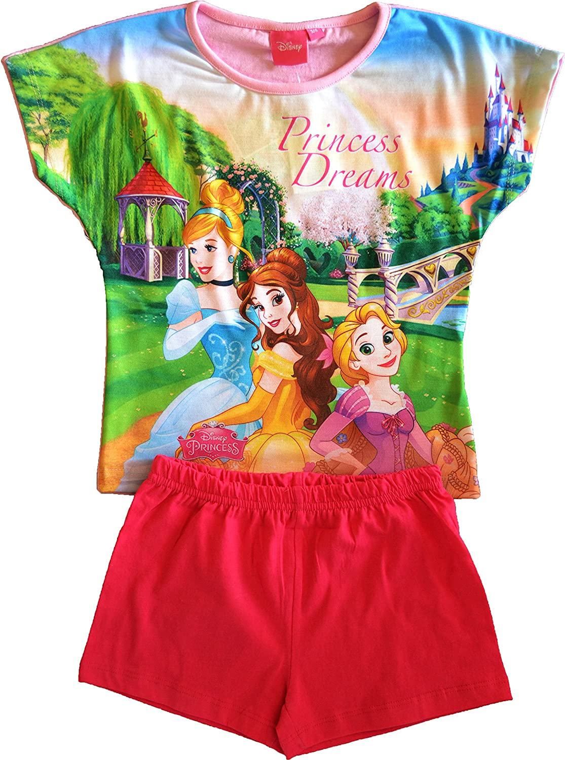 Girls Disney Princess Short Pyjamas Sizes 3 to 10 Years Pink 7-8 Years