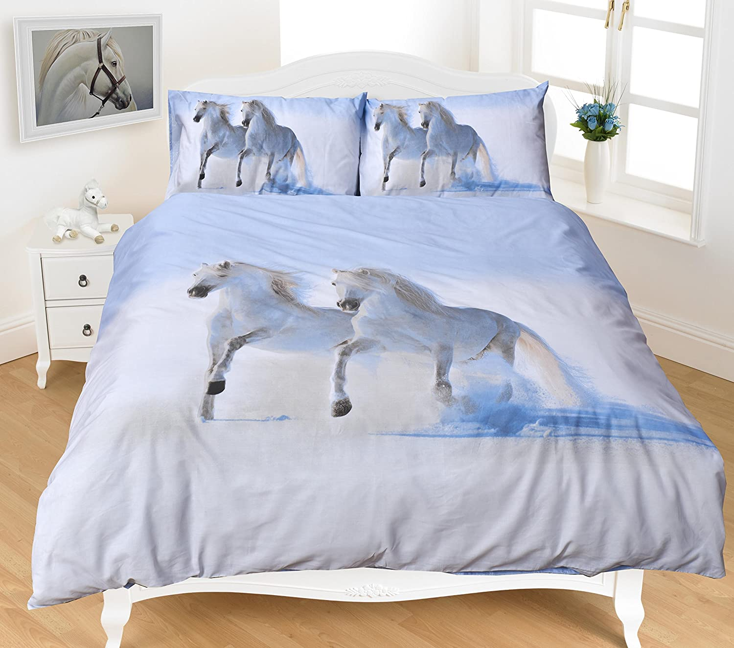 CLICKTOSTYLE DUVET SET QUILT COVER PILLOW CASES BEDDING SET SINGLE SIZE (HORSES)