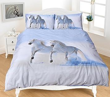 couvre lit cheval 3D Imprimé Animal Cheval Parure de lit en polycoton avec housse de  couvre lit cheval