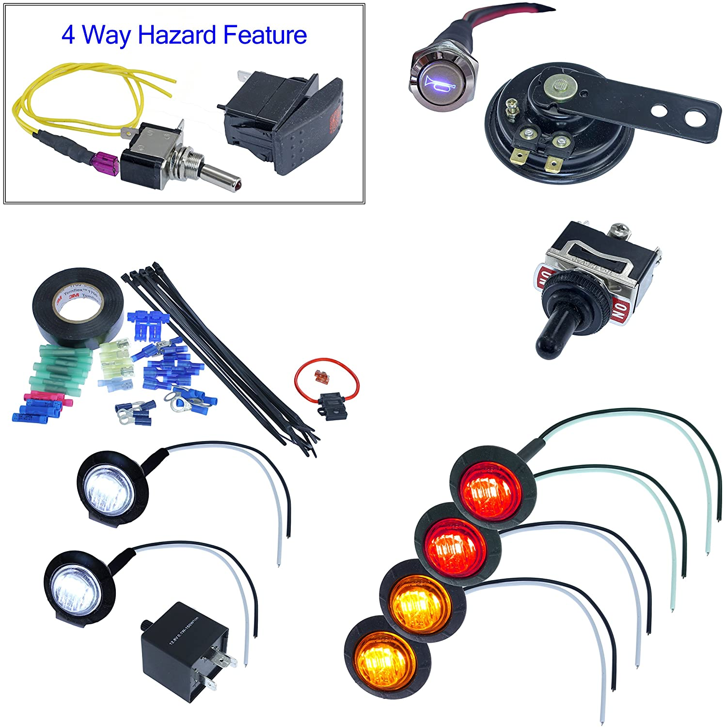 Universal Utv Atv Diy Street Legal Kit Turn Signal Dune Buggy Wiring Harness System With Horn Round Led Toggle Switch Automotive