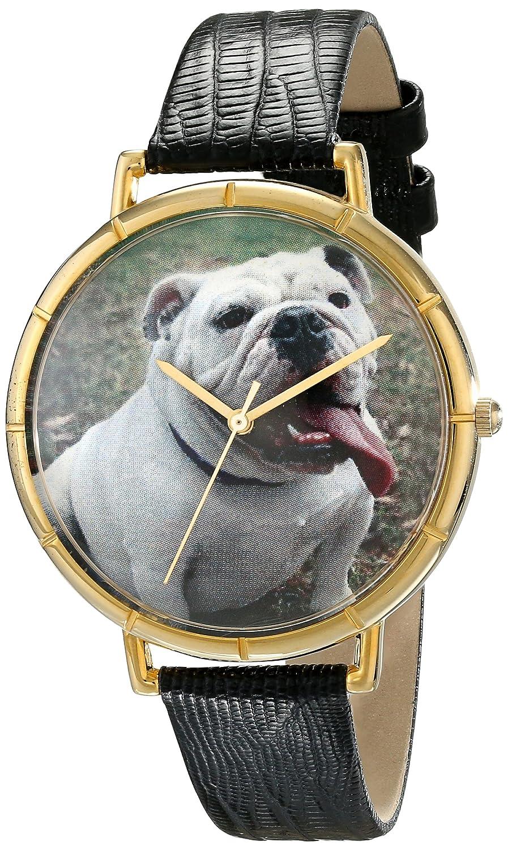 Foto Goldfarbenes Leder Unisex Skurril Und Schwarzem Uhren Bulldog HbW2eEYD9I