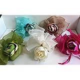 Set 10 pezzi, Bomboniera sacchettino portaconfetti in raso con tirante + fiore (siiacz09) (Verde)