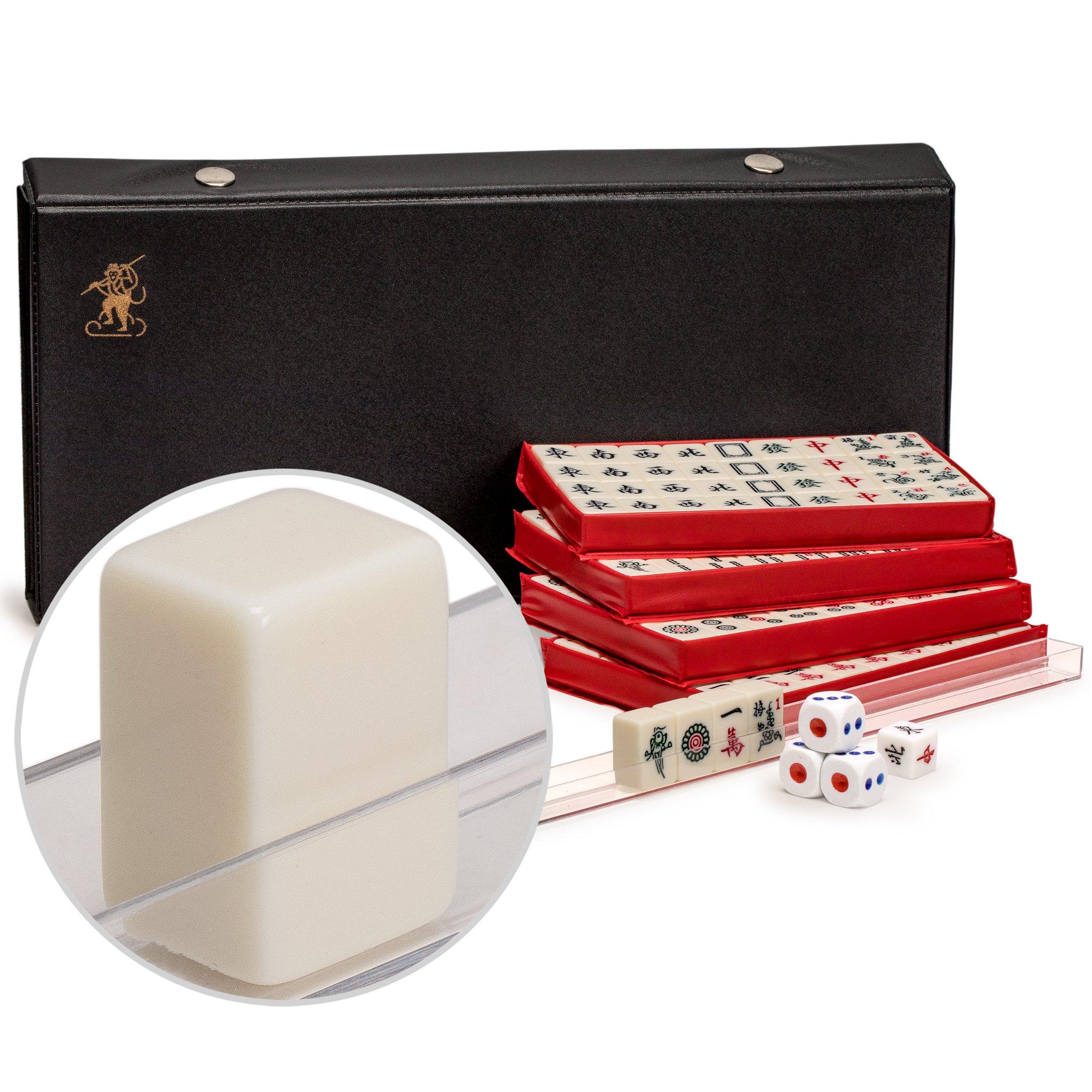 Yellow Mountain Imports Chinese Mahjong (Mahjongg, Mah Jongg, Mah-Jongg, Majiang) Travel Game Set with Extra Small White Tiles, Mini