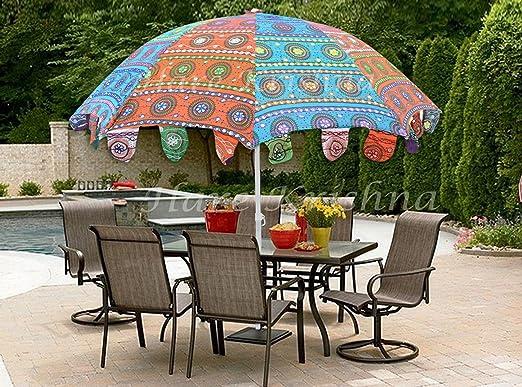 Hare Krishna Sombrilla Bordada Parasol Grande Indio del jardín 177 x 228 Cm: Amazon.es: Hogar