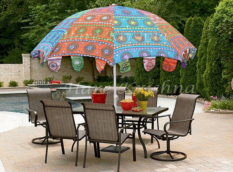 Hare Krishna Parasol ext/érieur color/é de coton de parasol indien de parasol de jardin indien 177 x 228 Cm