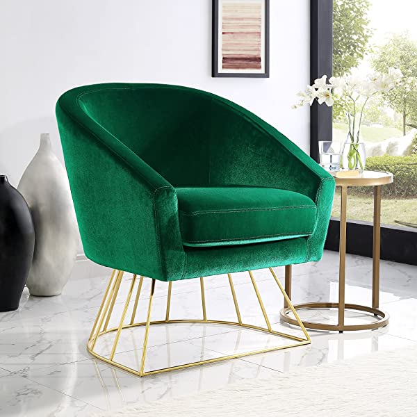 Adalene Green Velvet Accent Chair - Gold Metal Base | Barrel Shaped Back | Upholstered | Inspired Home