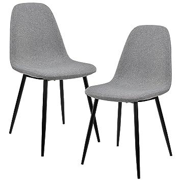 [en.casa]®] Set de 2 sillas de Comedor - 86 x 46cm - Tela Gris