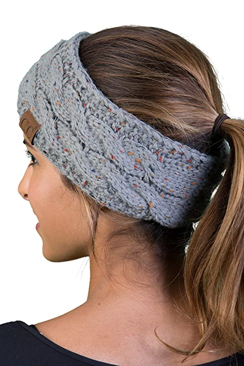 HW-6033-76 Funky Junque Head Wrap - Dove Grey (Confetti) best winter headbands