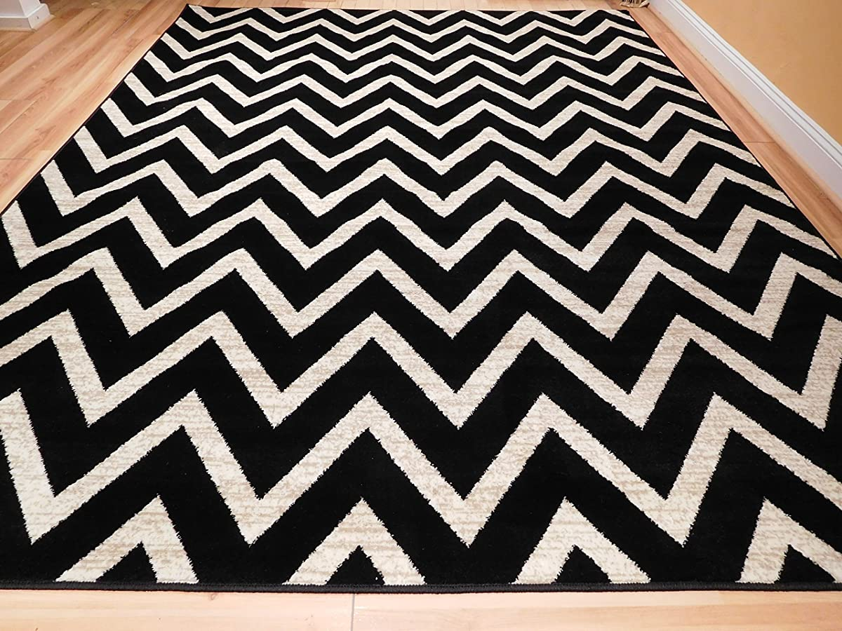 Large Chevron Pattern Rugs For Living Room Black Cream 8x11 Wavy 8x10 Modern Rugs Zig Zag Contemporary Rugs Zik Zak