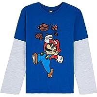 Super Mario Camiseta Niño, Camisetas de Manga Larga Azul y Roja con Mario Bros, Ropa para Niño de Algodon, Regalos para…