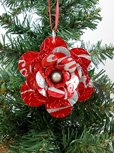 coca cola flower christmas ornament recycled soda can art double sided red - Flower Christmas Ornaments