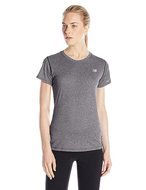 76071ad7cff06 New Balance Women's Heathered Short Sleeve Tee, Black Heather, X-Small
