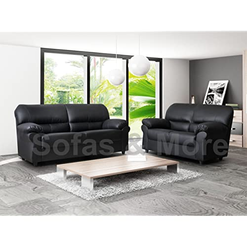 Black Leather Sofas 3 Seater And 2 Seater Amazon Co Uk
