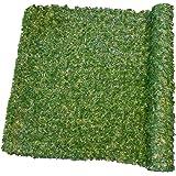 Haie de Verdure 195 Brins maillés PVC Haute Qualité Vert Foncé/Vert Clair/Marron 300 x 7,5 x 100 cm