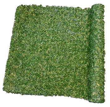 Haie de Verdure 195 Brins maillés PVC Haute Qualité Vert Foncé/Vert  Clair/Marron 300 x 7,5 x 150 cm