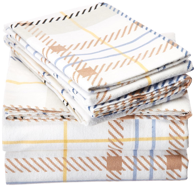 TRIBECA LIVING 170 GSM Modern Plaid Printed Deep Pocket Flannel Sheet Set Full Marwah Corporation MOPLFL170EDSSFU