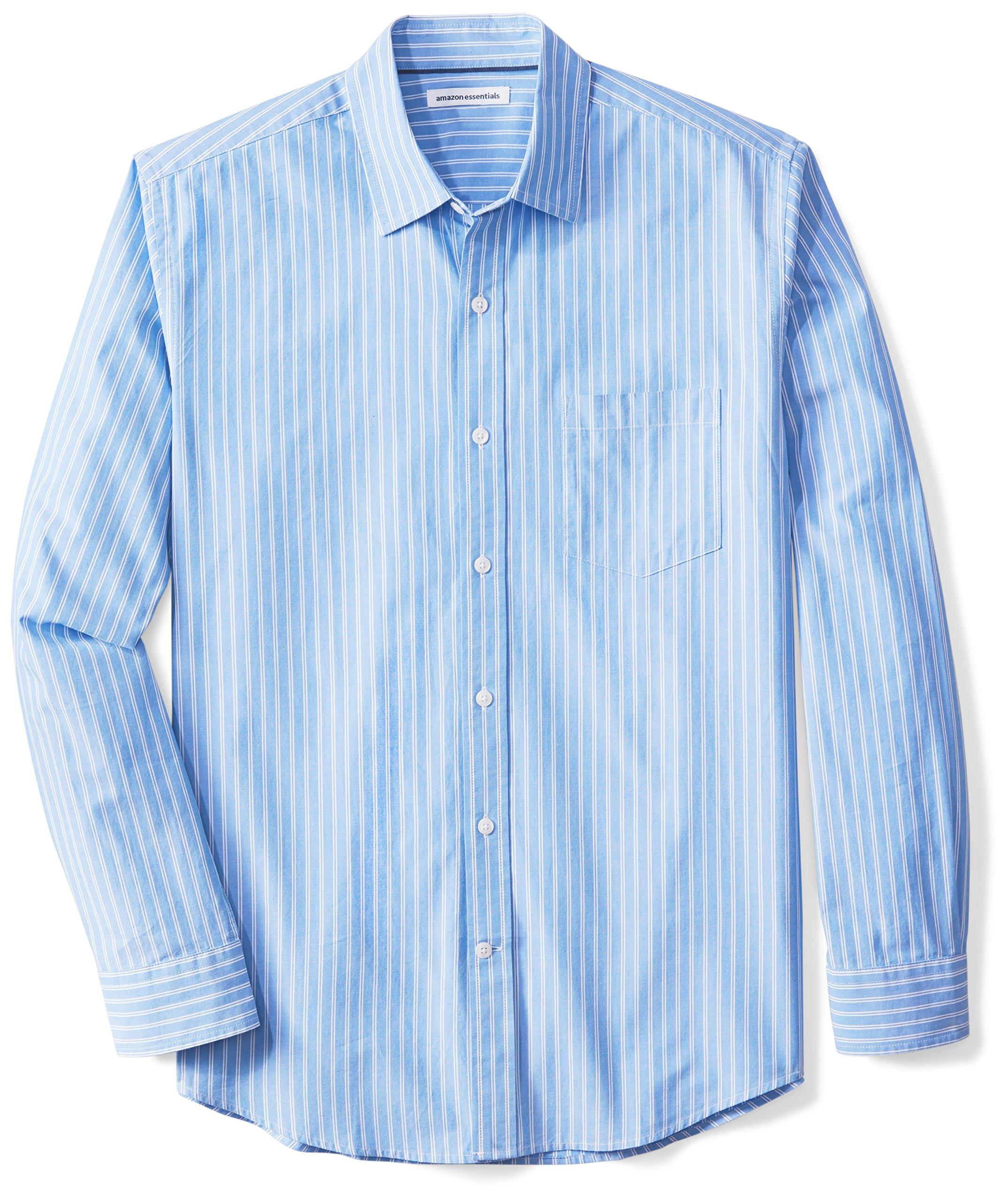Amazon Essentials Men's Long-Sleeve Reverse Stripe Shirt, Blue/White Stripe, Large