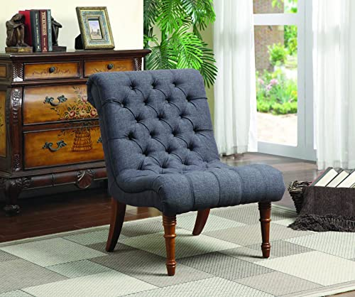 Christopher Knight Home Laird Traditional Winged Fabric Accent Chair, Blue Dark Brown