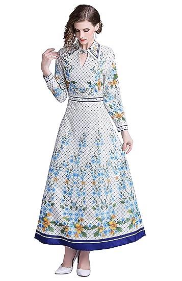 5ff6360709c013 LAI MENG Damen Blumen Maxikleid Bohemien Lange Ärmel A-Linie Lang Kleider  Hemdkleid Partykleid  Amazon.de  Bekleidung