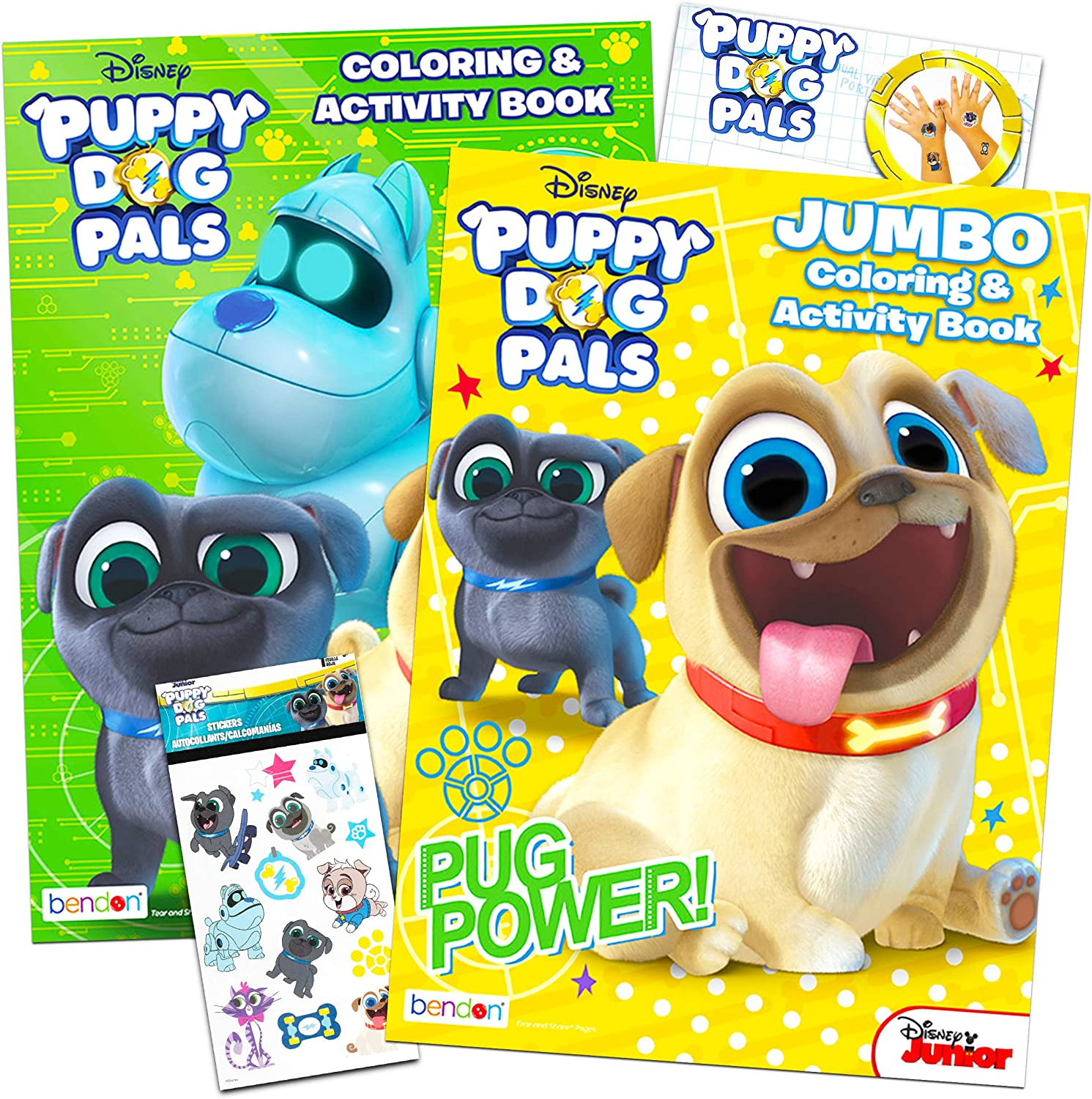 Puppy Dog Pals Coloring Book Super Set ~ Set of 2 Puppy Dog Pals Activity Books with Bonus Sticker and Tattoos (Puppy Dog Pals Party Supplies Bundle)