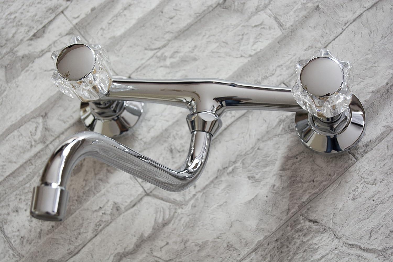 Armatur Küche Ausgußbecken Zweigriff Wasserhahn Wandarmatur S Auslauf 200 mm
