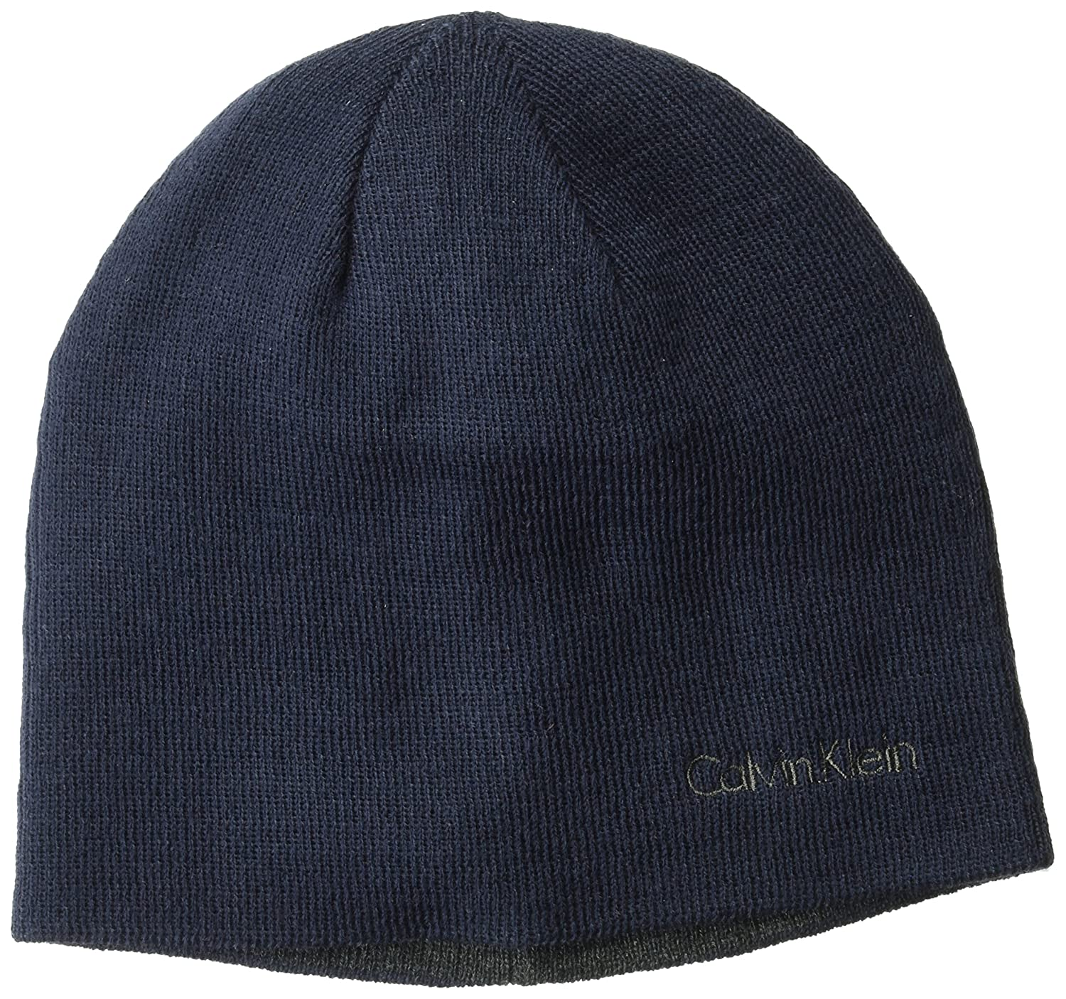 Calvin Klein Unisex Reversible Solid Winter Hat, Navy, One Size HCKHT293