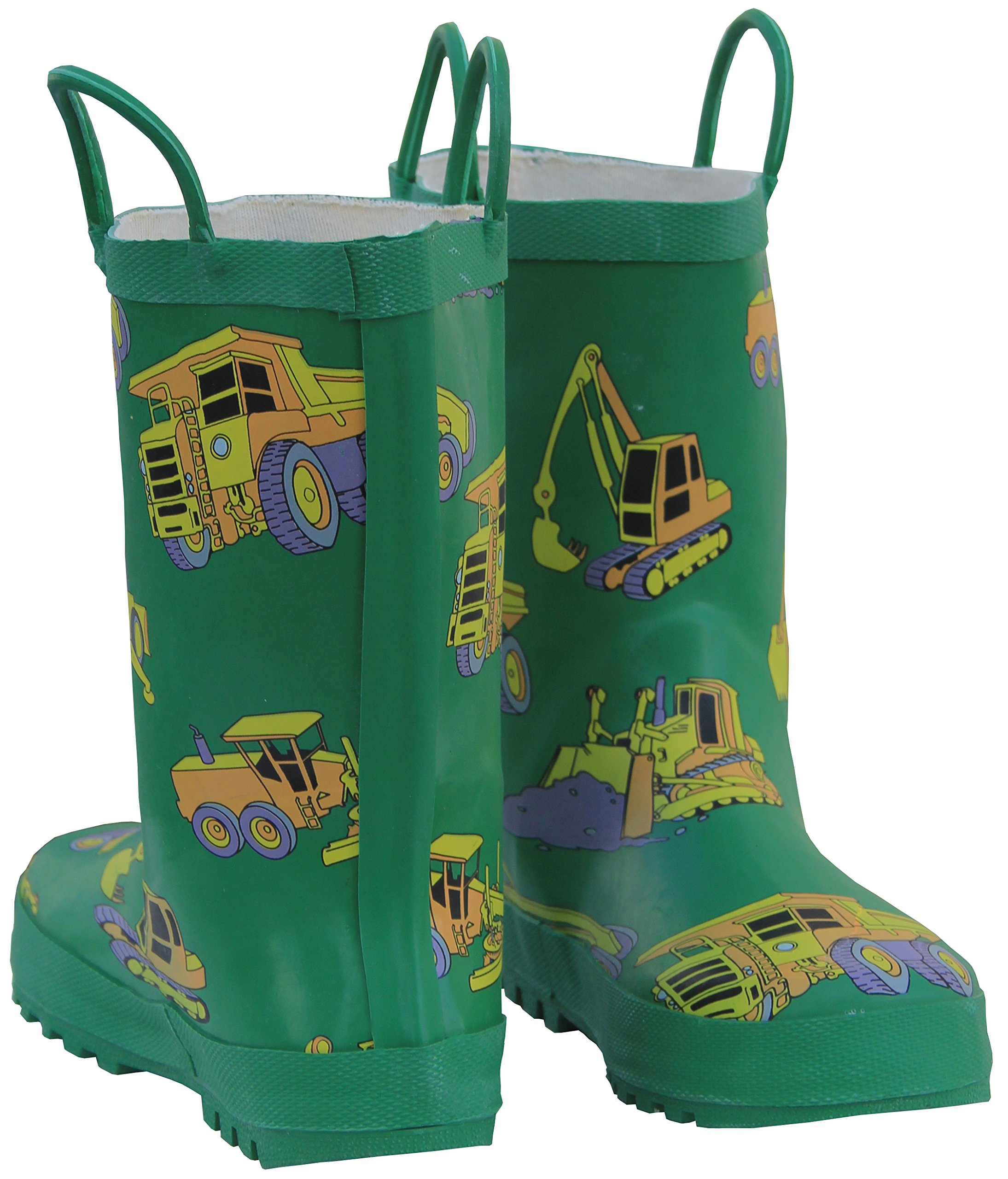 Foxfire for Kids Green with Constuction Equipment Rubber Boots Matte Finish Size 1