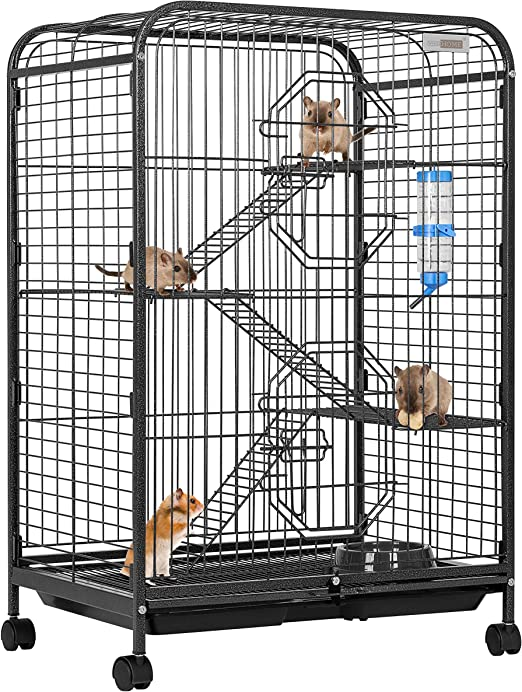 VIVOHOME - Jaula de Metal para Interiores y Exteriores con escaleras para Botellas de Agua y Soporte rodante para hámster, cobaya, Rata, Gato, hurón, Chinchilla: Amazon.es: Productos para mascotas