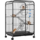 VIVOHOME 37 Inch Metal Indoor Outdoor 4 Levels Small Animal Cage Hutch with Water Bottle Ladders and Rolling Stand for Hamste
