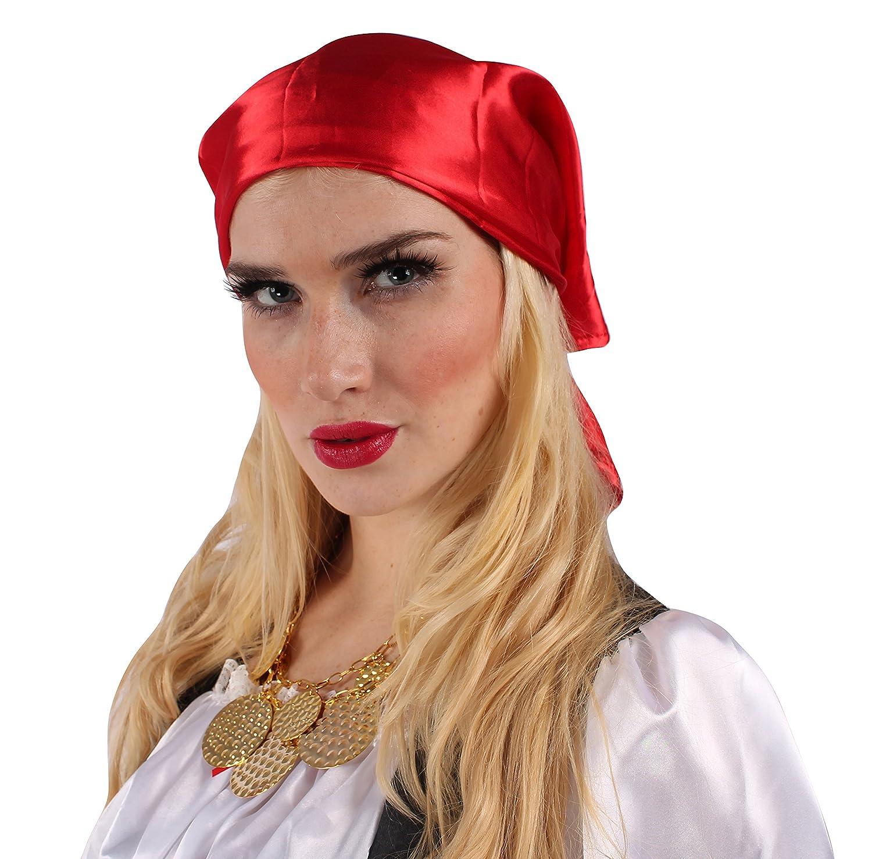 Piratenbraut Mit Kopftuch In Schwarz Weiss Rot Gold Grosse 36