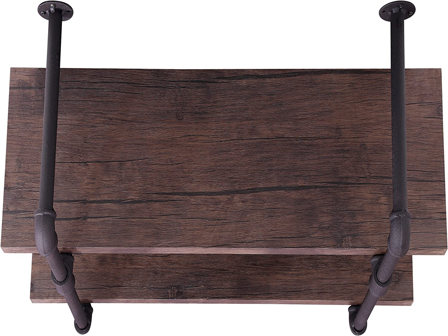 Christopher Knight Home Caden Industrial Two Tier Faux Wood Wall-Mounted Shelf, Finish, Dark Brown + Texture Brown