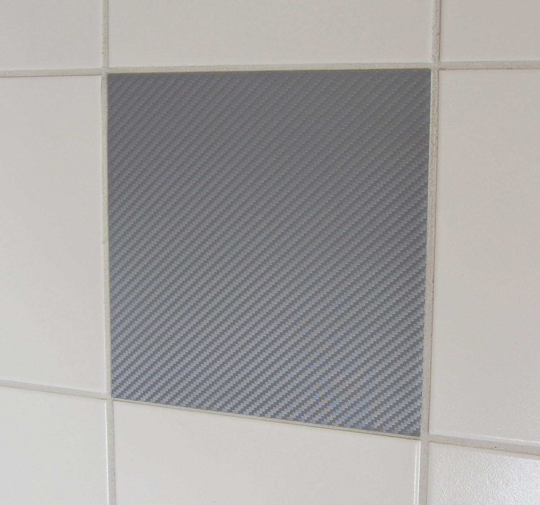 50 pezzi carbon look grigio adesivi per piastrelle 20x25cm StickandShine